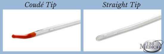 coude tip catheter compared to straight catheter tip