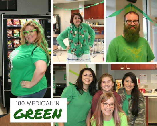 180 medical employees wearing green for spinal cord injury awareness day