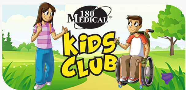 180 Medical Kids Club illustration with a boy in a wheelchair and a girl
