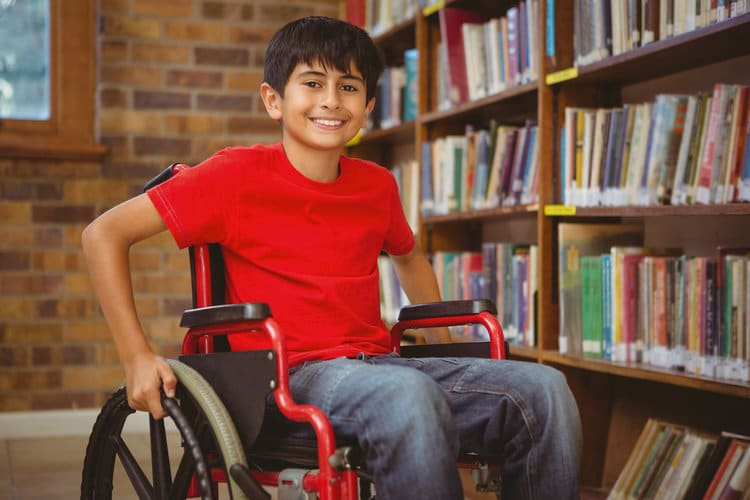 child in wheelchair
