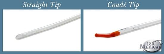 straight intermittent catheter compared to coudé tip
