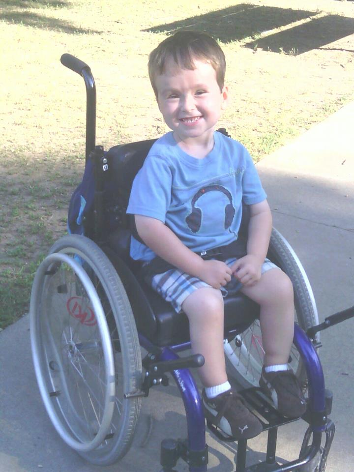 Grant uses a wheelchair due to his spina bifida.