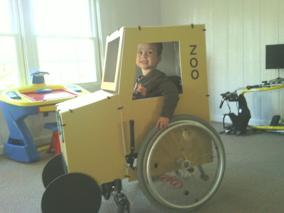 Picture of Grant in his wheelchair costume