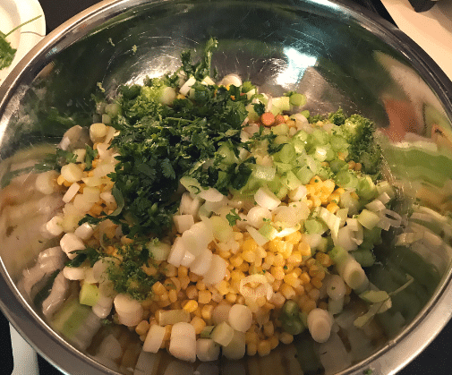 bean salsa ingredients in bowl