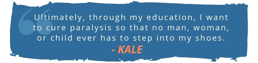 kale scholarship recipient quote tm paralysis