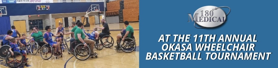 180 medical at 11th annual okasa wheelchair basketball tournament blog title graphic
