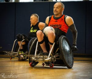 steve playing wheelchair rugby rampage