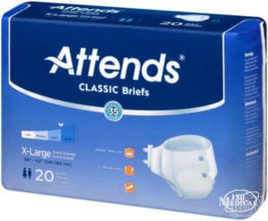 Attends Classic Briefs Diapers with tabs for incontinence package