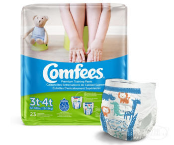 Comfees Training Pants for Boys Size 3T-4T diaper with animal design and package
