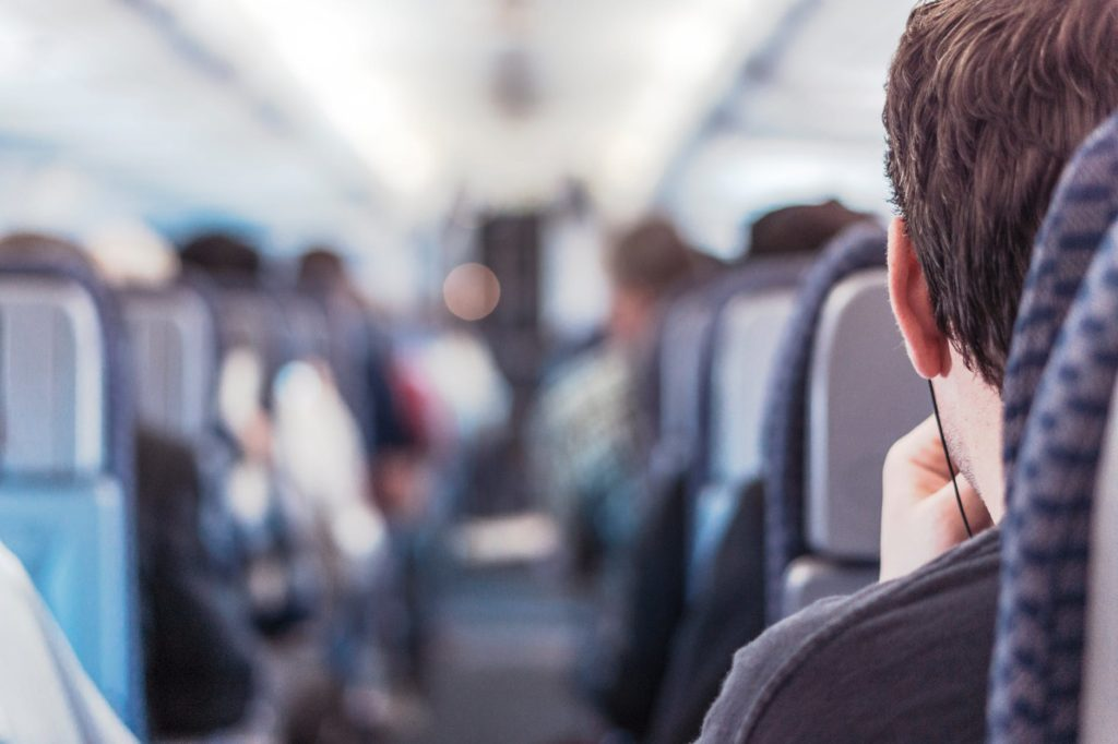 aisle seat on flight or bus travel
