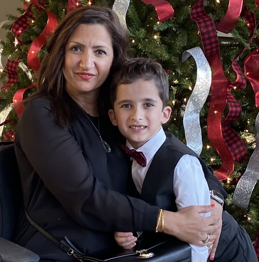 Meena and son Christmas