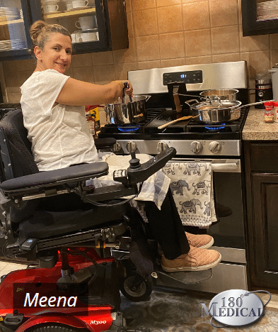meena cooking in kitchen with spinal cord injury