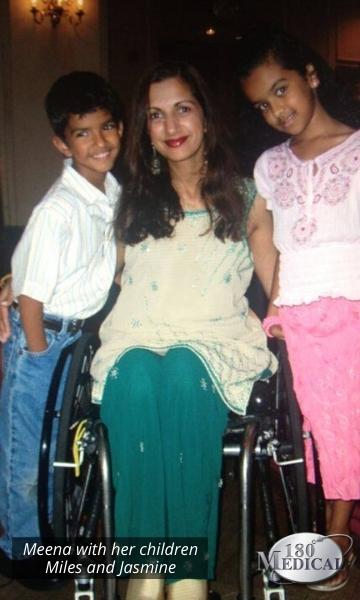 meena with children after spinal cord injury