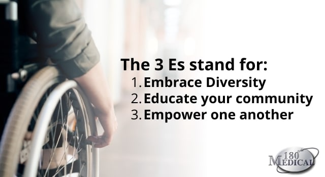 The 3 Es stand for embracing diversity, educating our communities, and empowering one another