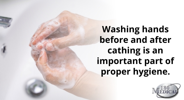 washing hands before and after using catheters is important