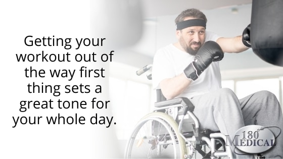wheelchair exercising in morning