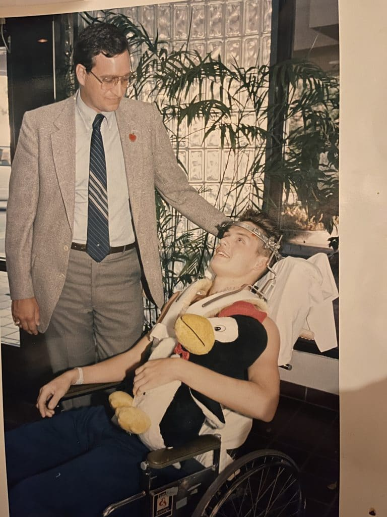 Steve in 1988 shortly after his accident with his high school principal, Fred Richardson