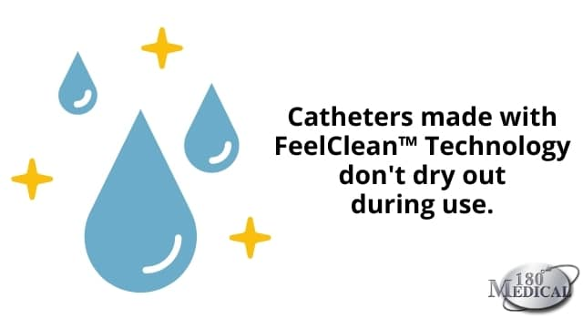 catheters with feelclean technology don't dry out during use