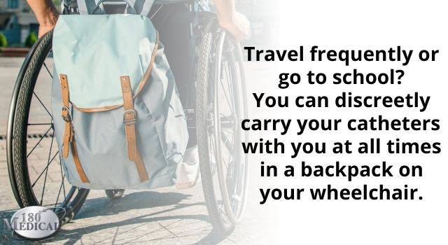 keep catheters discreet in a backpack or bag during travel