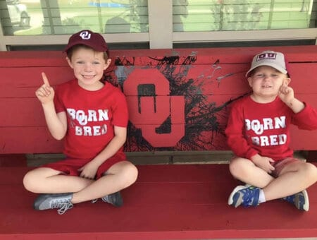 Leah's kids and her homemade OU bench
