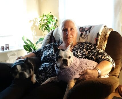 darlene with her boston terriers