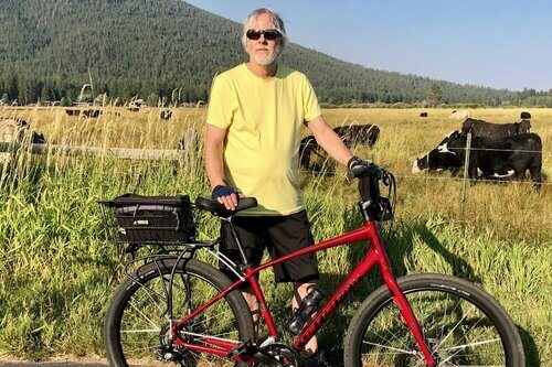 Brian Hines bicycling in Oregon